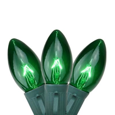 25-Light Transparent Green C9 Christmas Lights 12 in. Spacing with Green Wire