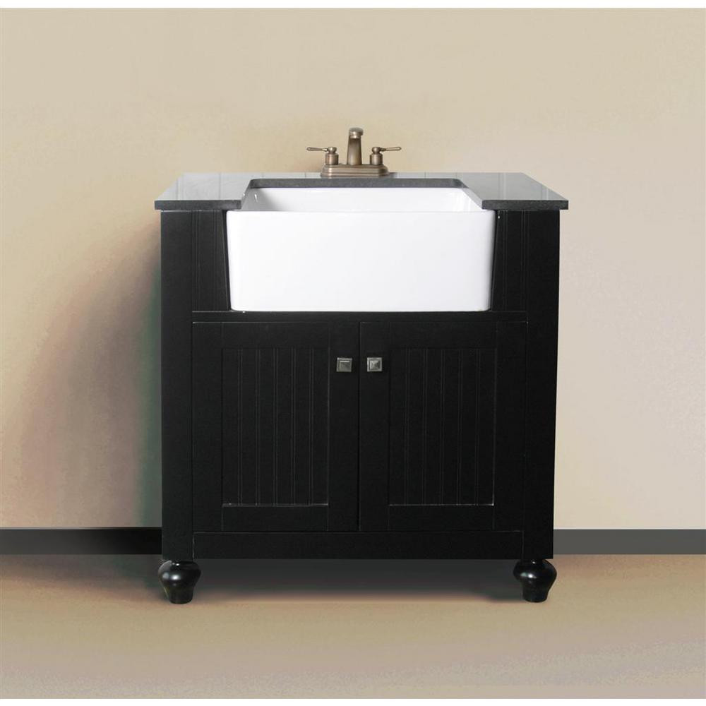 31 in. W x 19 in. D x 38 in. H Vanity in Espresso with Granite Vanity Top in Black with White Basin