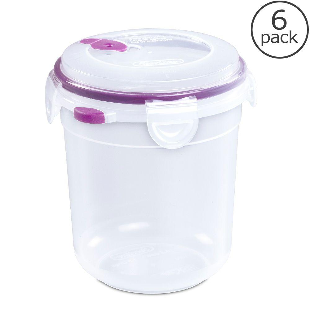 Sterilite Ultra-Seal 6.2 Cup Round Food Storage Container (6-Pack)