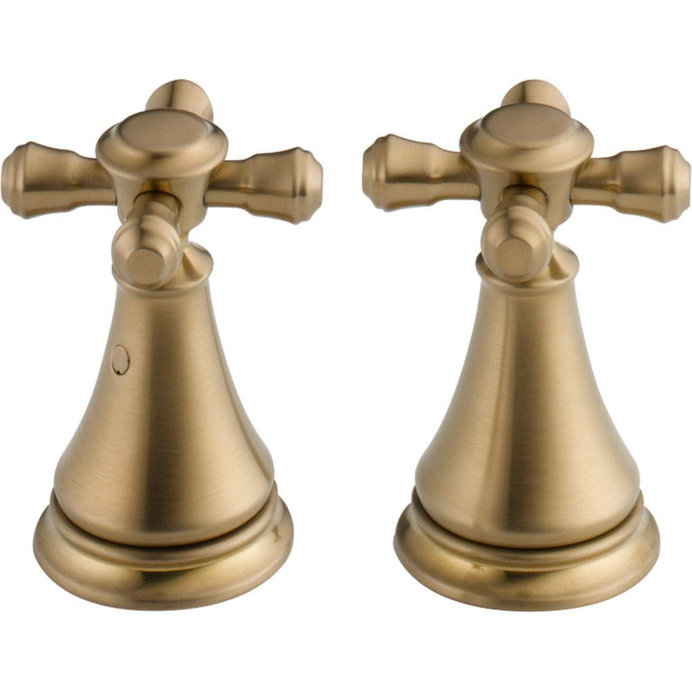 Pair of Cassidy Metal Cross Handles for Bathroom Faucet in Champagne
