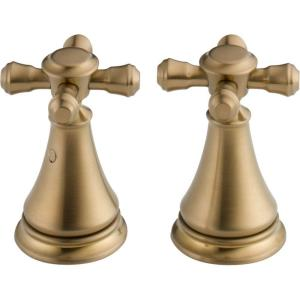 Pair of Cassidy Metal Cross Handles for Bathroom Faucet in Champagne Bronze