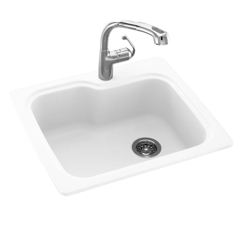 Swan Drop-In/Undermount Solid Surface 25 in. 1-Hole Single Bowl Kitchen Sink in White