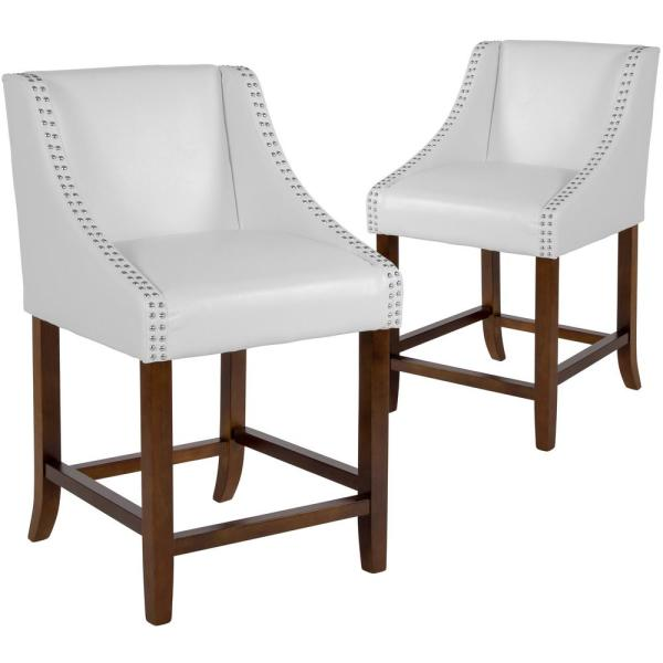 24 in White Leather Bar Stool (Set of 2)