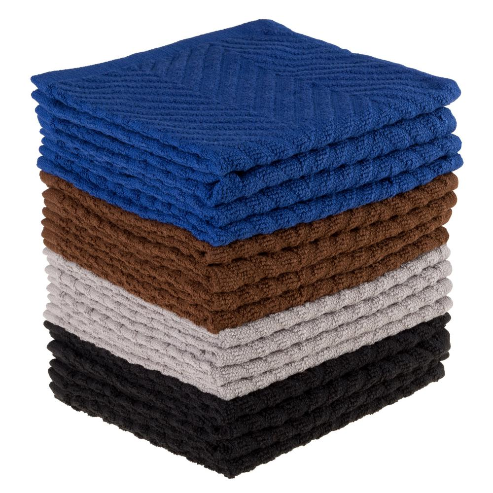 Multi Chevron Pattern Cotton Kitchen Towels (Set of 16)