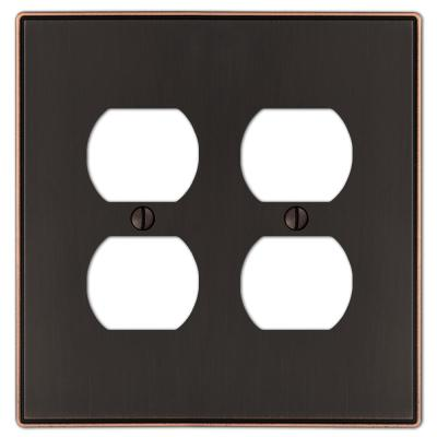 Ansley 2 Gang Duplex Metal Wall Plate - Aged Bronze