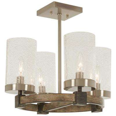Bridlewood 4-Light Stone Grey with Brushed Nickel Semi-Flush Mount with Clear Seedy Glass