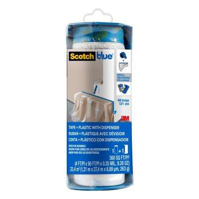 4 ft. x 90 ft. Clear Pre-Taped Painter's Plastic Sheet