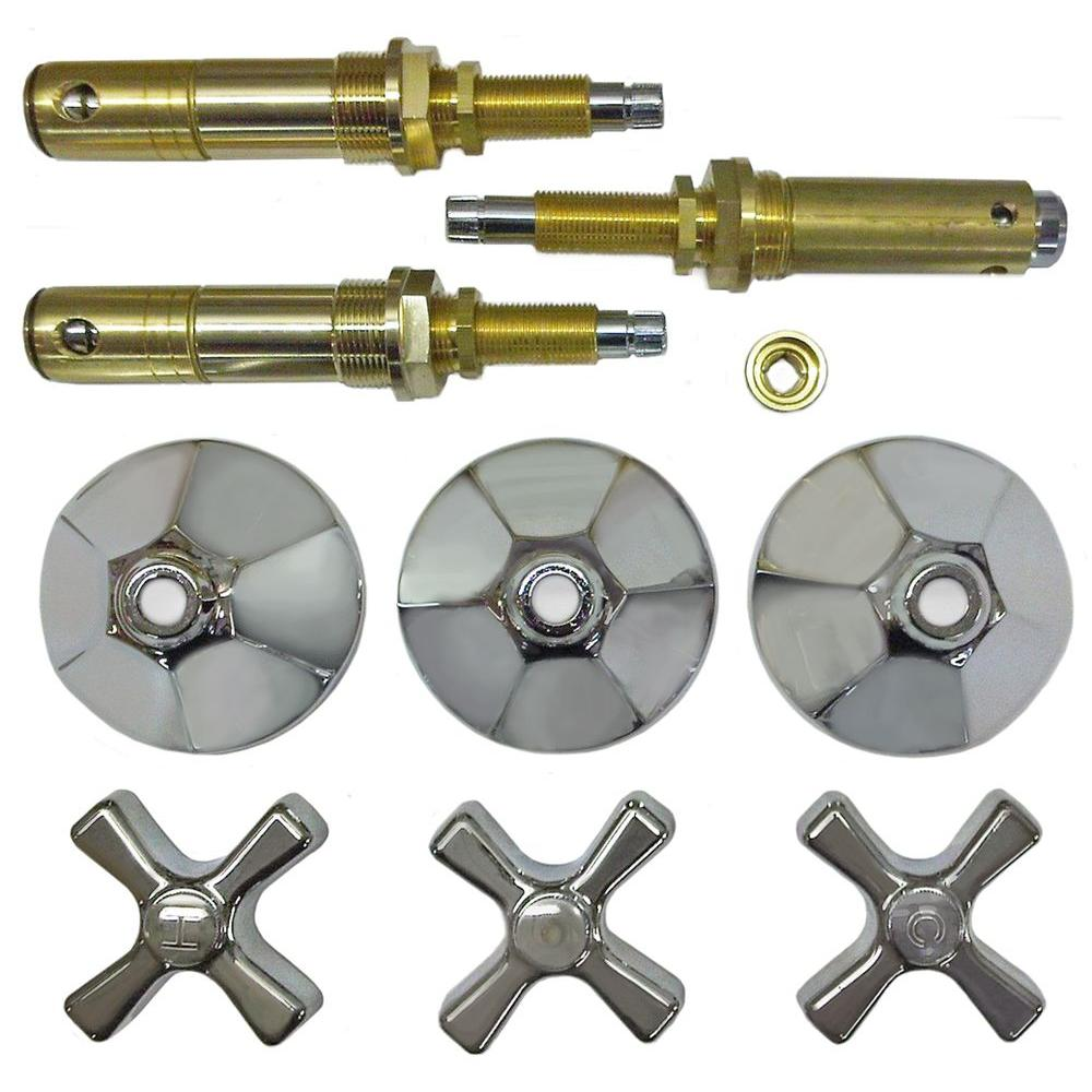 Binford 3 Valve Rebuild Kit for Tub and Shower with Chrome Handles for American Standard