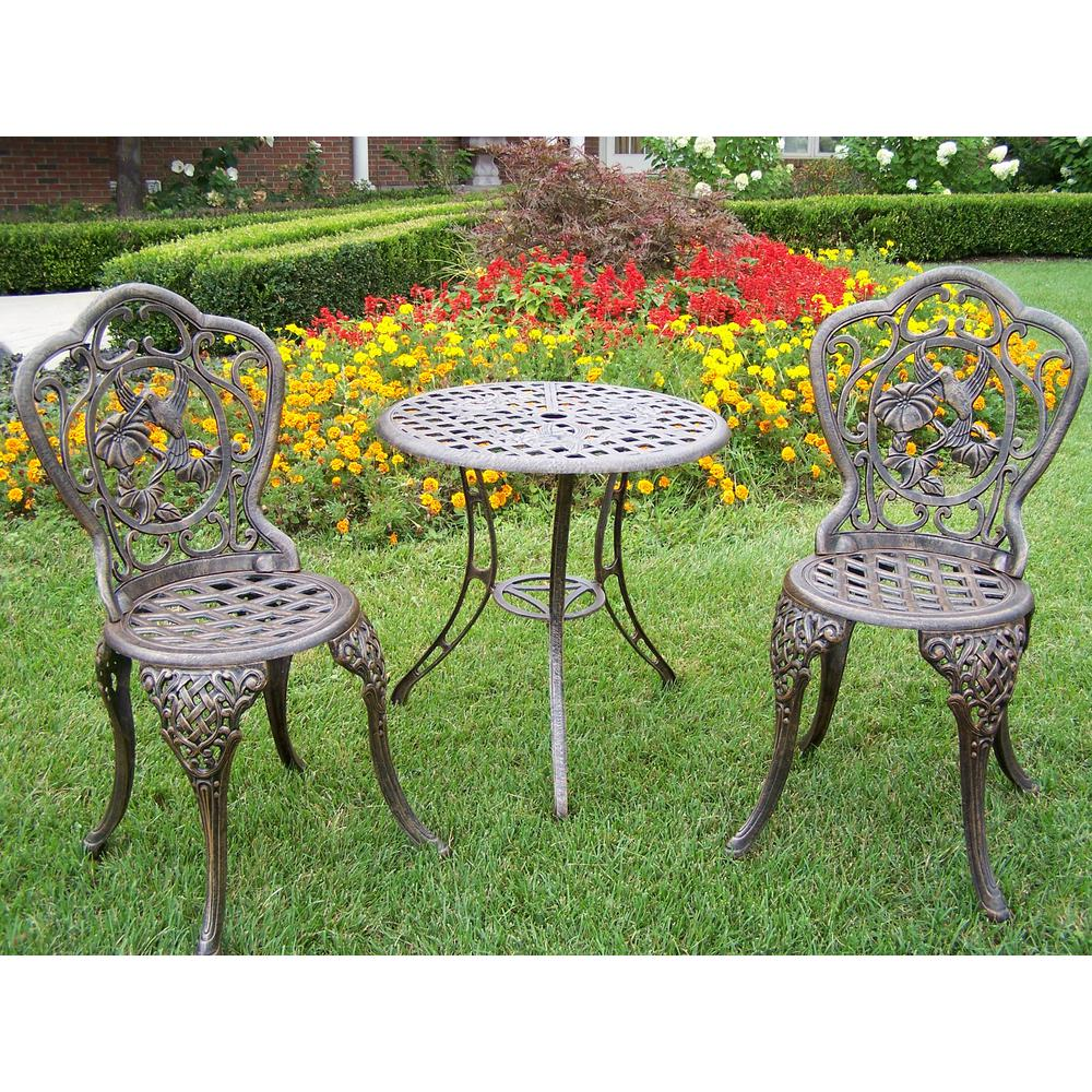 Hummingbird 3 Piece Cast Aluminum Bistro Set With 24 In Table And 2 Chairs Hd3709 Ab The Home Depot