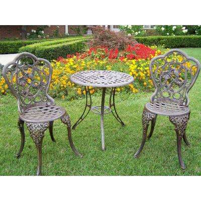 Hummingbird 3 Piece Cast Aluminum Bistro Set With 24 In Table And 2 Chairs