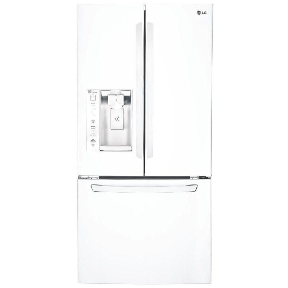 LG Electronics 33 in. W 24.2 cu. ft. French Door Refrigerator in Smooth White