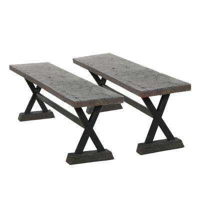 Chalmette Brown Stone Outdoor Bench