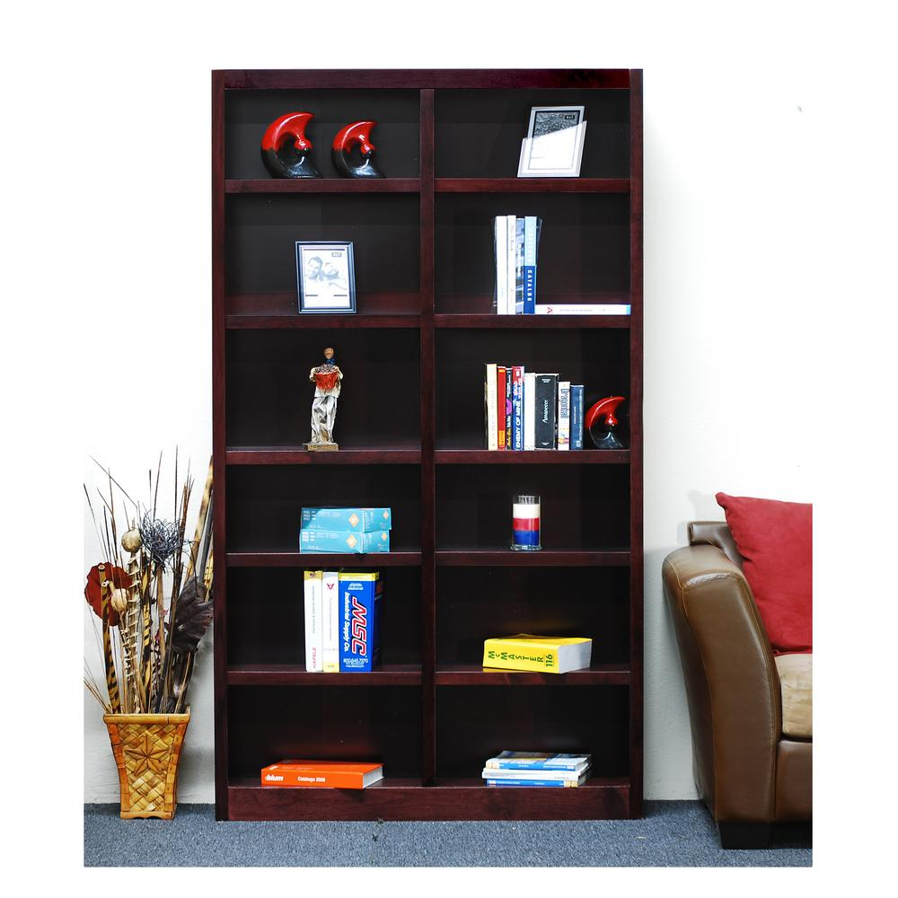 Concepts In Wood Midas Double Wide 12-Shelf Bookcase in Cherry