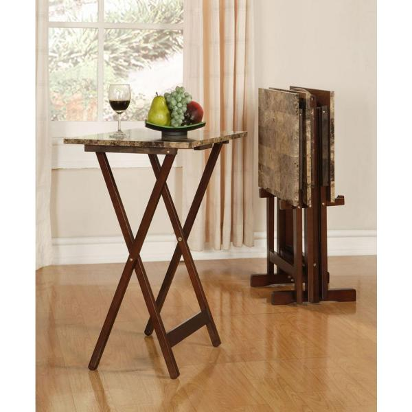 separation shoes 94230 a4625 Linon Home Decor Tray Table Set Faux Marble in Brown ...