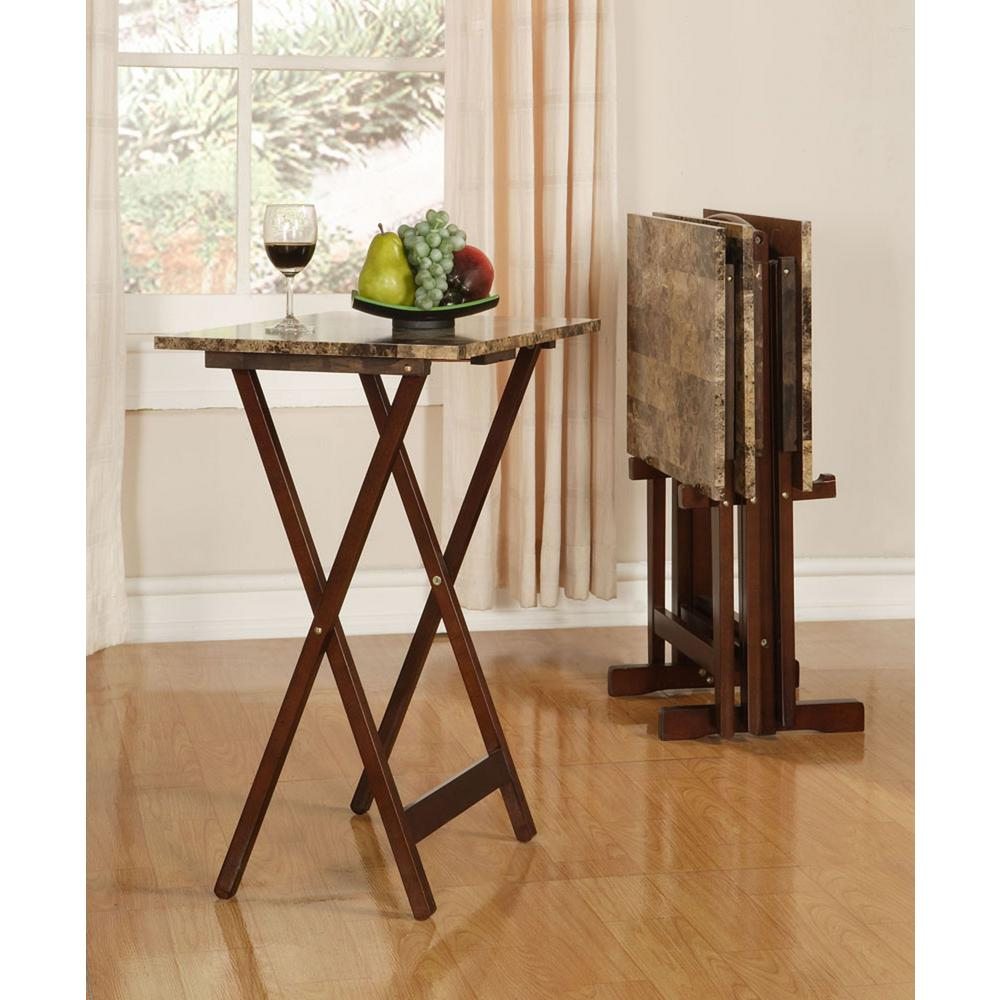 Linon Home Decor Tray Table Set Faux Marble in Brown-43001TILSET-01 ...
