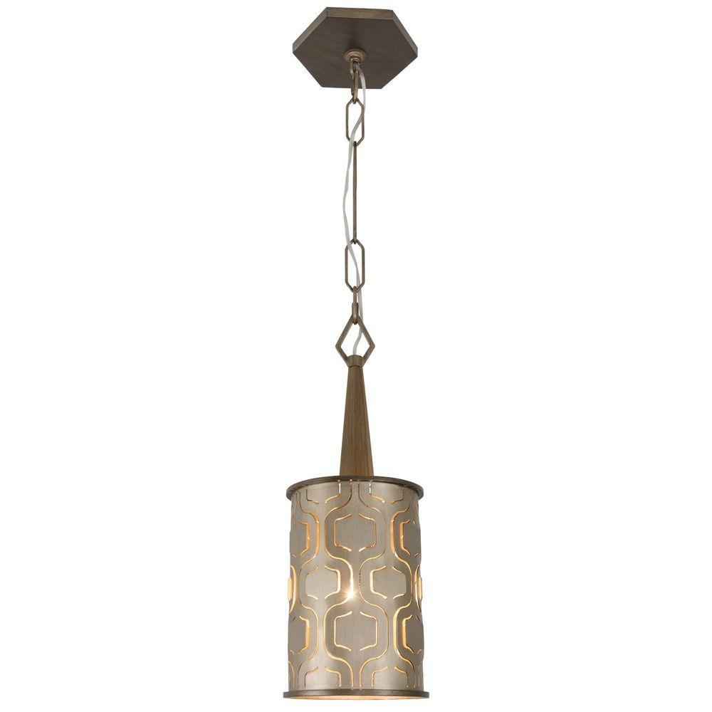 Iconic 1-Light Champagne Mist Mini Pendant with Recycled Steel Shade