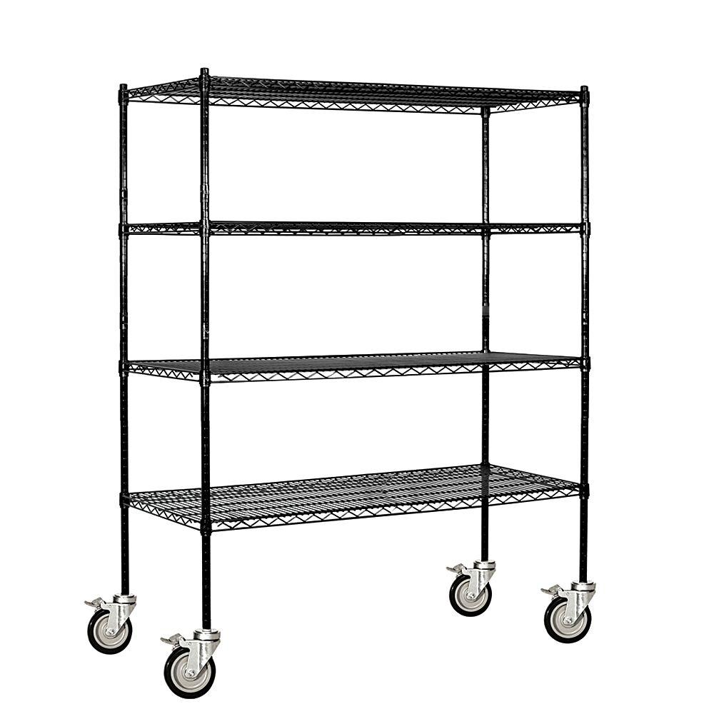 Salsbury Industries 9500M Series 60 in. W x 69 in. H x 18 in. D Industrial Grade Welded Wire Mobile Wire Shelving in Black