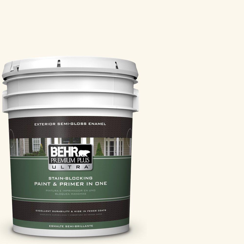 BEHR Premium Plus Ultra 5-gal. #W-B-400 Vermont Cream Semi-Gloss Enamel Exterior Paint