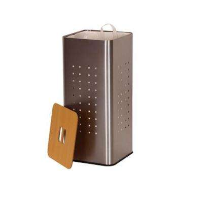 Silver Stainless Steel Laundry Hamper with Wooden Lid and Removable Liner