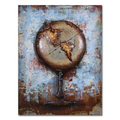 "29 in. x 39 in. ""Global"" Metal Wall Art"