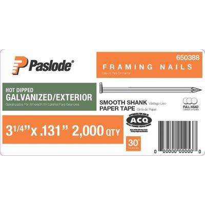 3-1/4 in. x 0.131-Gauge 30° Galvanized Smooth Shank Paper Tape Framing Nails (2,000 per Box)