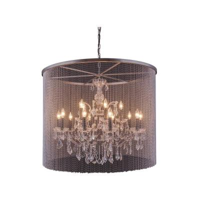 Brooklyn 15-Light Mocha Brown Chandelier with Clear Crystal