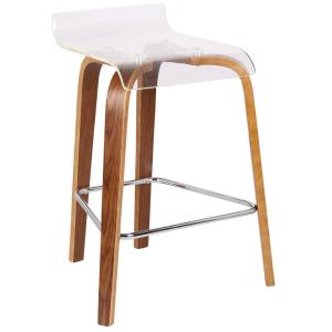 Groovy Lumisource Clarity 26 In Walnut Wood And Clear Acrylic Theyellowbook Wood Chair Design Ideas Theyellowbookinfo