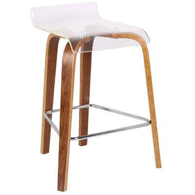 Clarity 26 in. Walnut Wood and Clear Acrylic Counter Stool