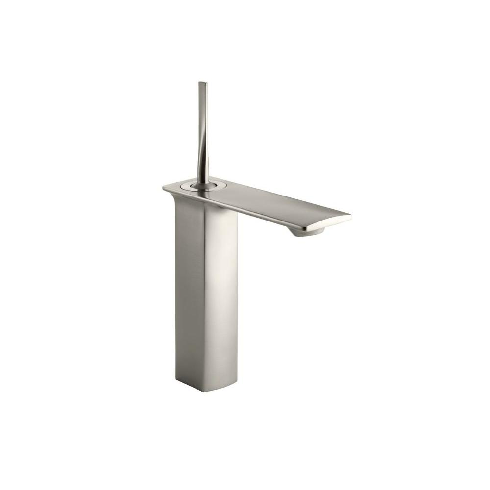 Stance Single Hole Single Handle Mid-Arc Bathroom Faucet in Brushed Nickel
