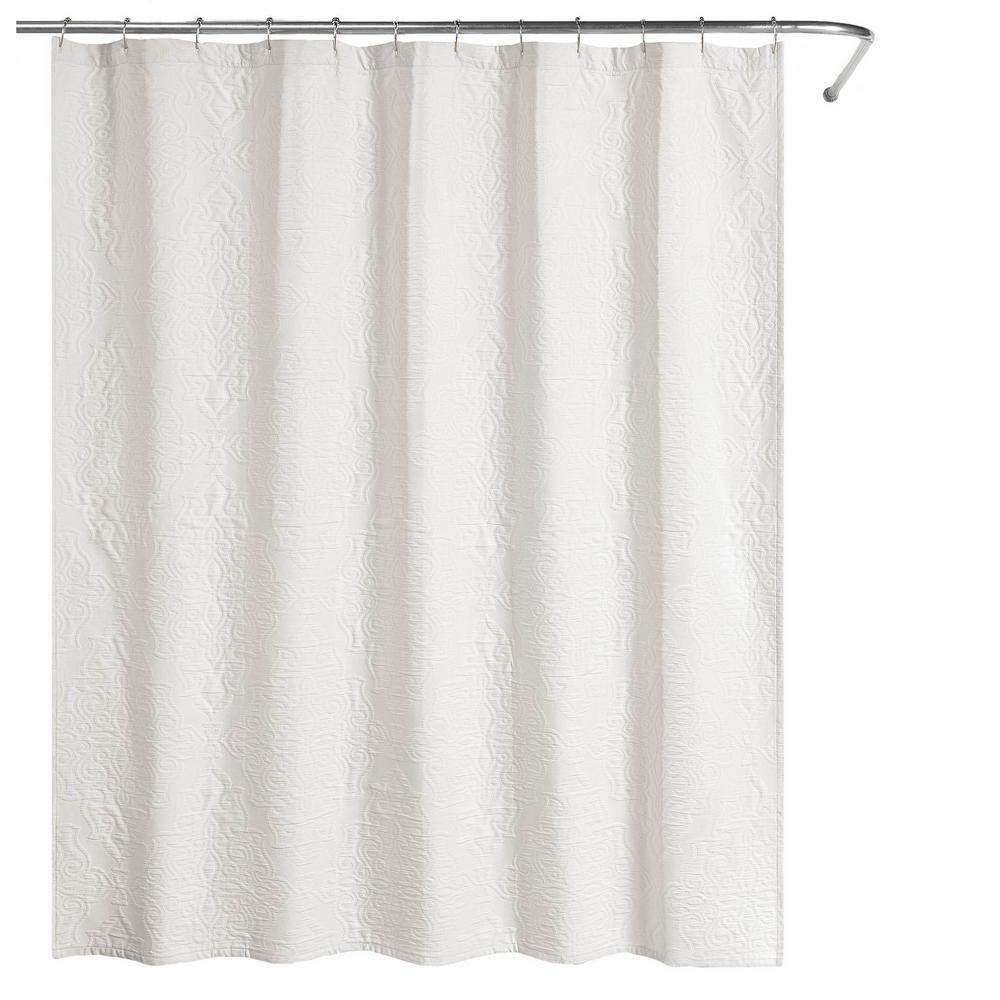 Raphaela European Matelassé 72 in. Shower Curtain White