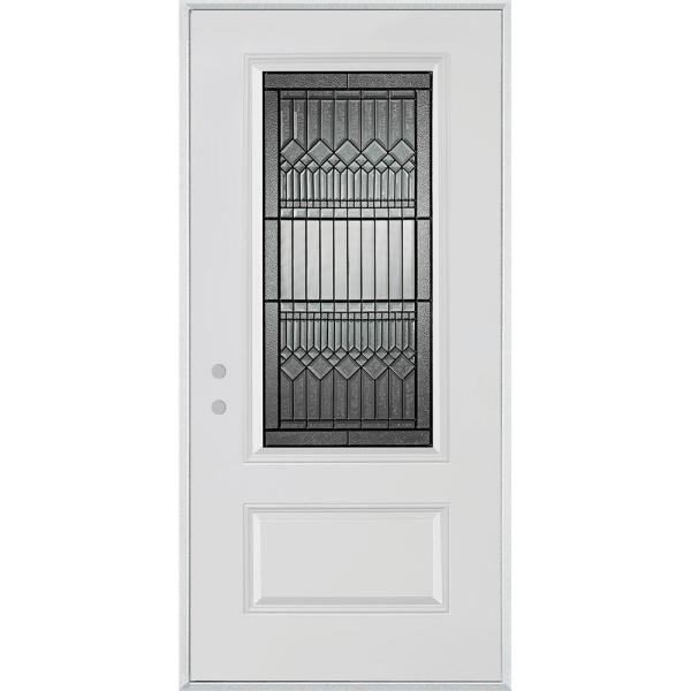32 in. x 80 in. Lanza Patina 3/4 Lite 1-Panel Painted White Steel Prehung Front Door