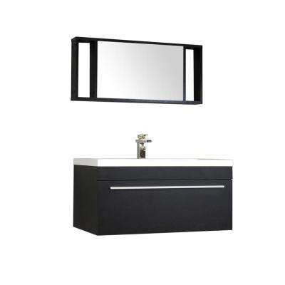 Ripley 35.25 in. W x 18.75 in. D x 17.5 in. H Vanity in Black with Acrylic Vanity Top in White with White Basin
