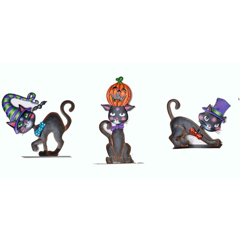 7 in. to 14 in. Metal Halloween Cat (Set of 3)