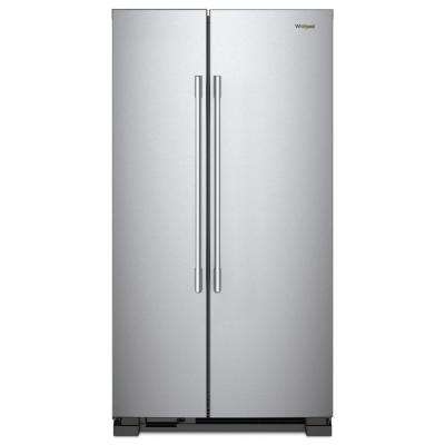 36 in. W 25.1 cu. ft. Freestanding Side by Side Refrigerator in Fingerprint Resistant Stainless Steel