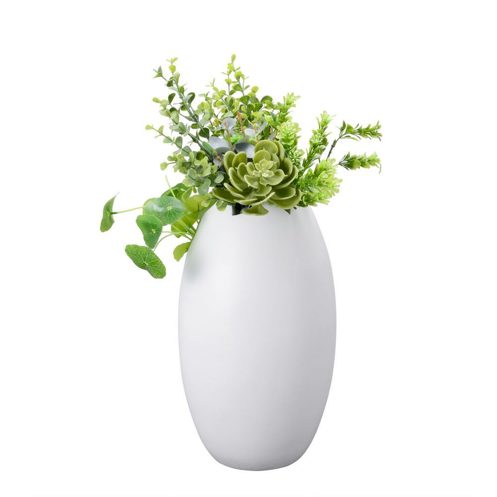 12 in. Tall White Handmade Decorative Round Mango Wood Tulip Vase