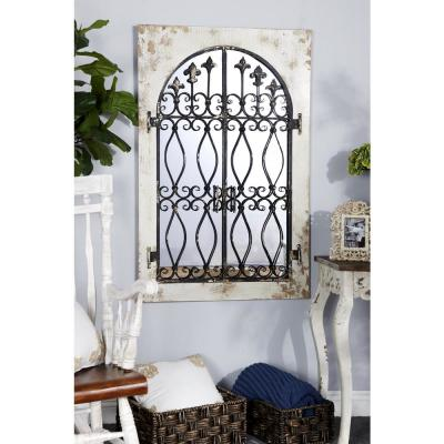 Rectangular Distressed White Wall Mirror with Gate Overlay