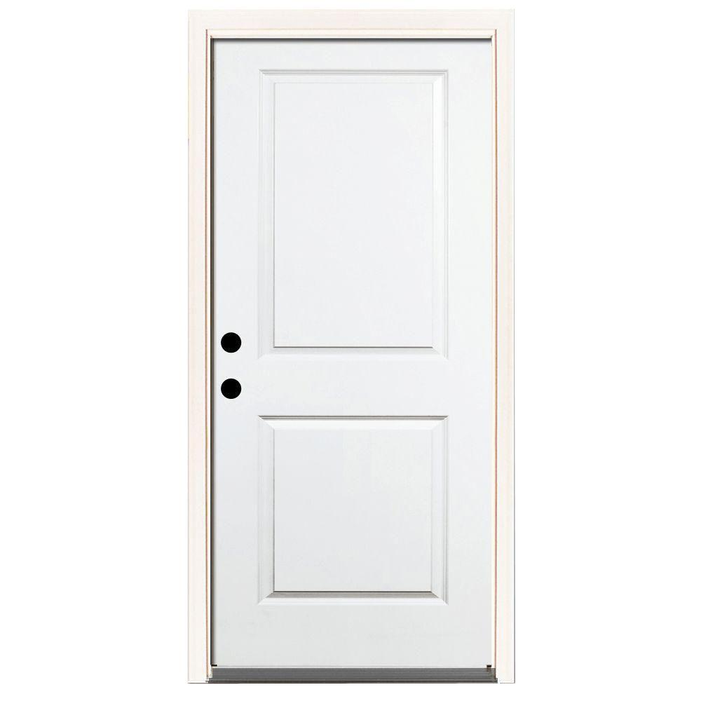 Steves & Sons 36 in. x 80 in. Premium 2-Panel Square Primed White Steel Prehung Front Door w/ 36 in. Right-Hand Inswing and 6 in. Wall