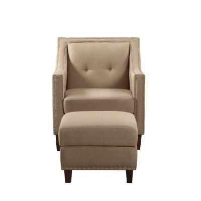 Beige Accent Chair with Storage Ottoman