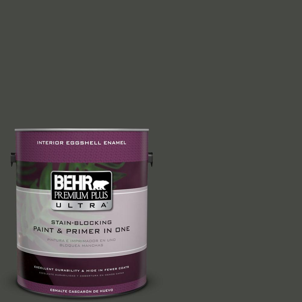 1 gal. #710F-7 Black Swan Eggshell Enamel Interior Paint and Primer
