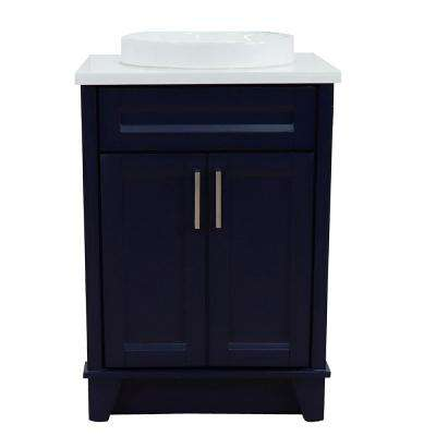 25 in. W x 22 in. D Single Bath Vanity in Blue with Quartz Vanity Top in White with White Round Basin