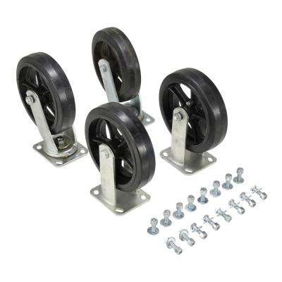 2,400 lb. Capacity 8 in. x 2 in. Mold-On-Rubber Caster Kit - Set of 4
