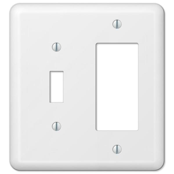 Declan 2 Gang 1-Toggle and 1-Rocker Steel Wall Plate - White