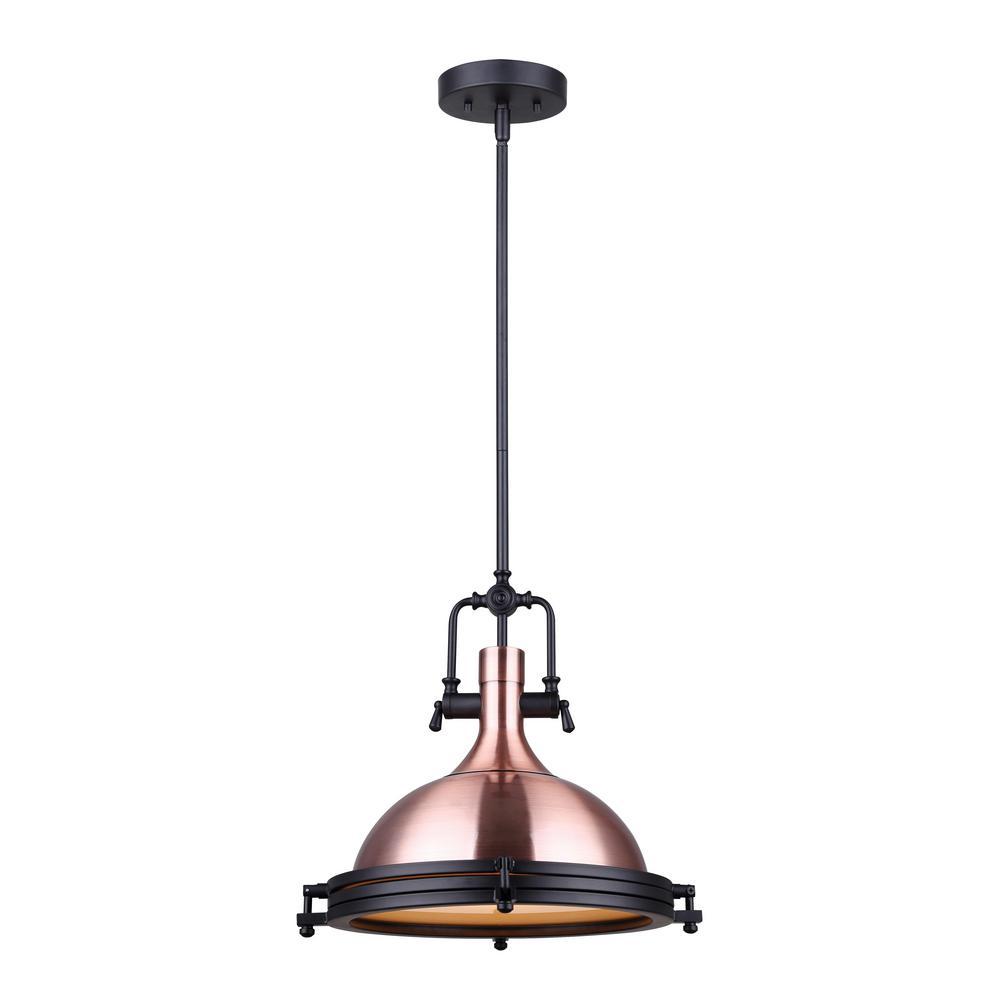 Rosa 1-Light Bronze and Matte Black Pendant