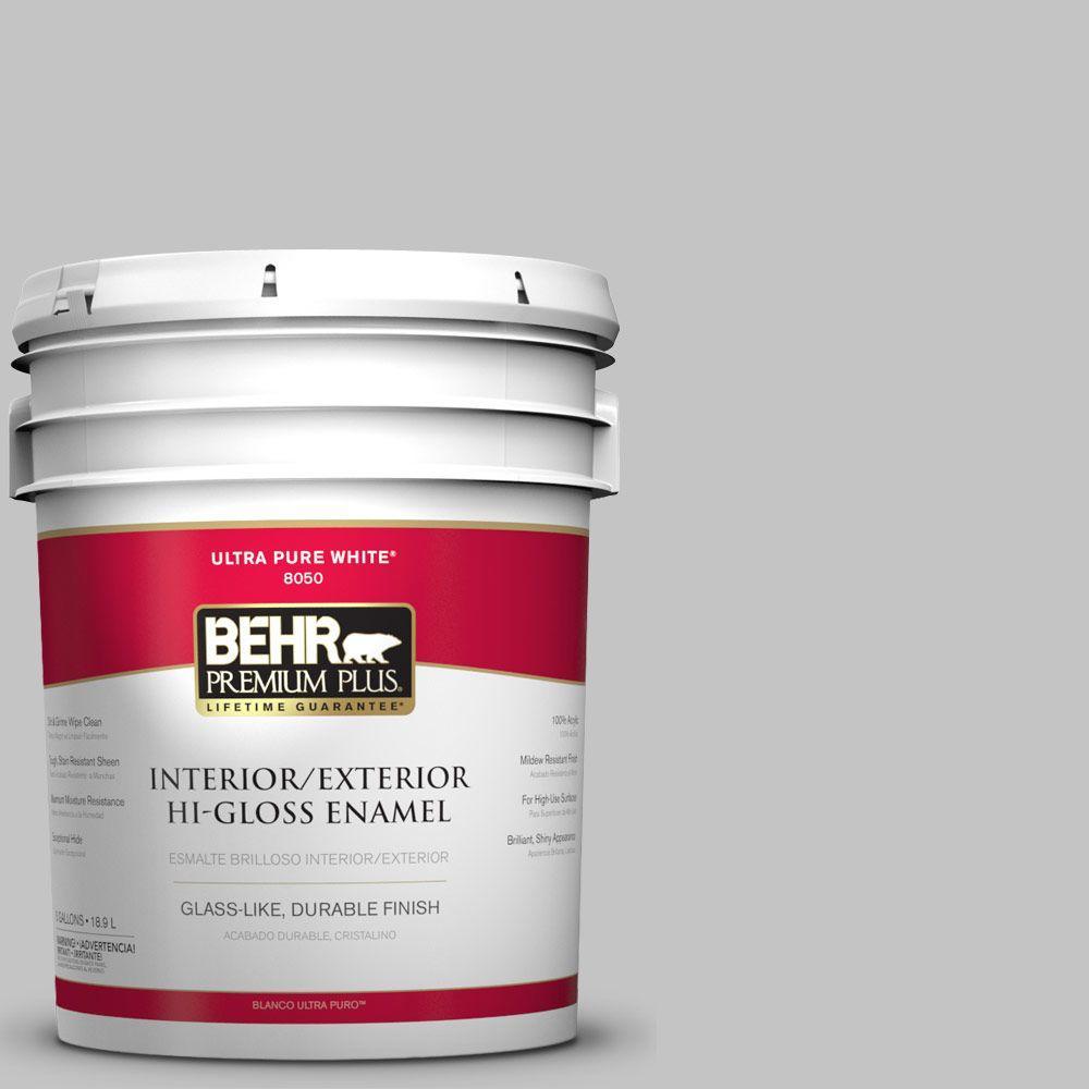 Behr premium plus 5 gal n520 2 silver bullet hi gloss for Behr paint silver bullet
