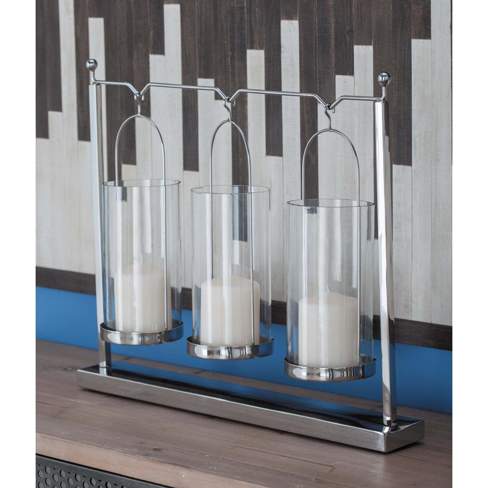 17 in. 3-Glass Stainless Steel Candle Holder