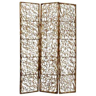 WILLOW 5 ft. Brown 3-Panel Room Divider