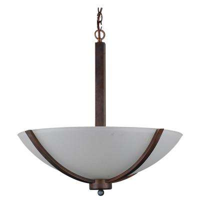 3-Light Coffee Chandelier with Etched Acid Wash Glass Shade