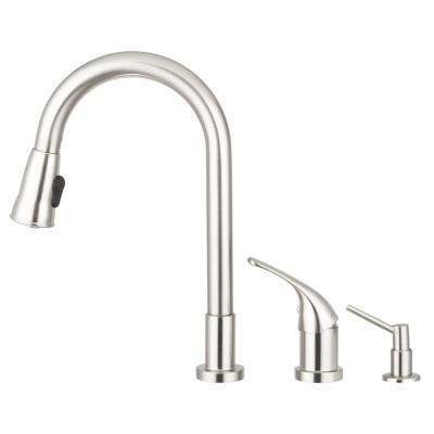 Grandview Single-Handle Pull-Down Sprayer Kitchen Faucet with Side Lever Controls and Soap Dispenser in Satin Nickel