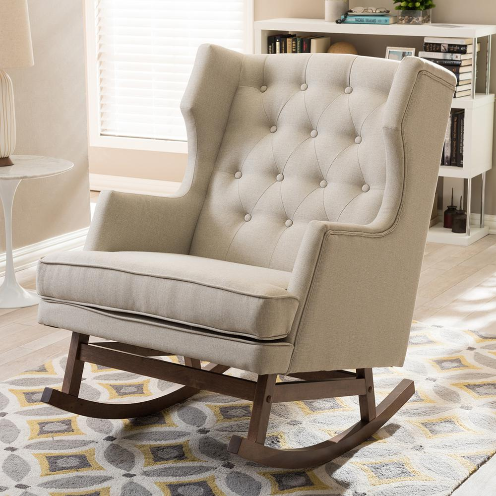 baxton studio iona midcentury beige fabric upholstered rocking the home depot