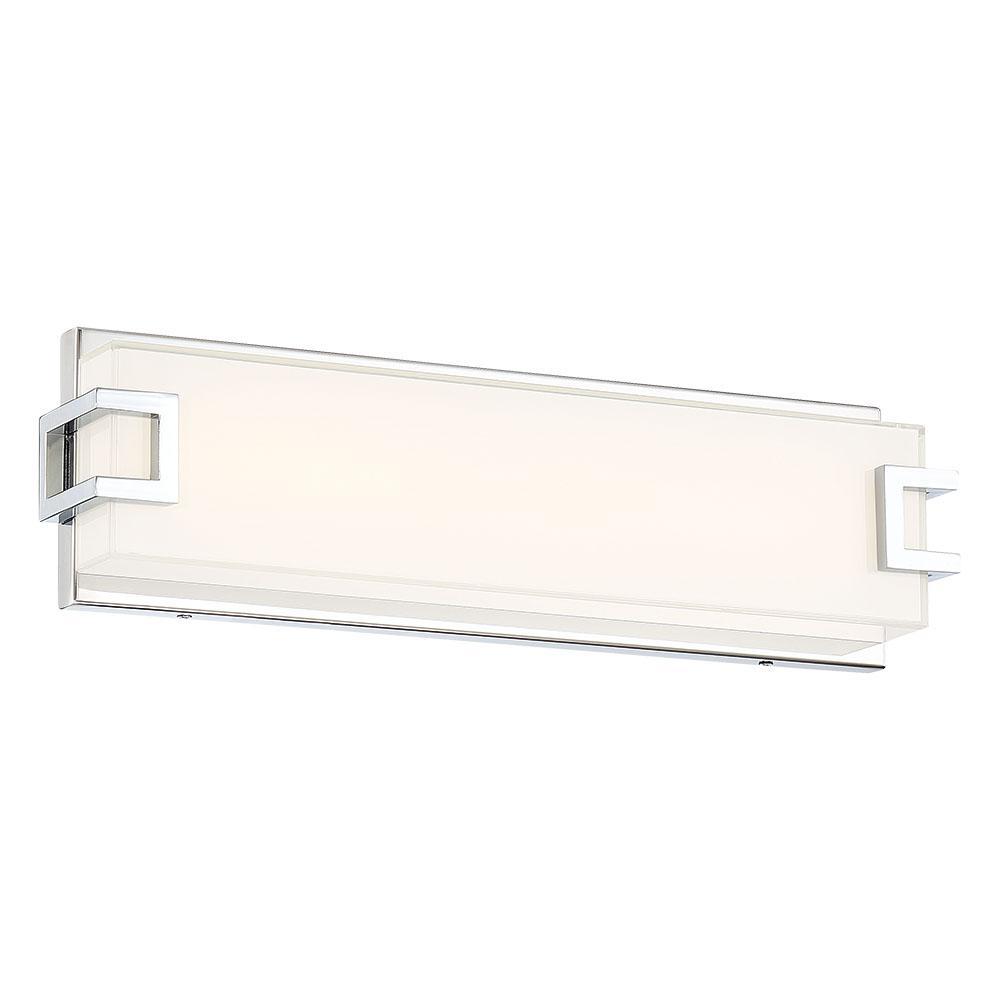 Good Lumens by Madison Avenue 150-Watt Equivalence Chrome Integrated LED Bath Light